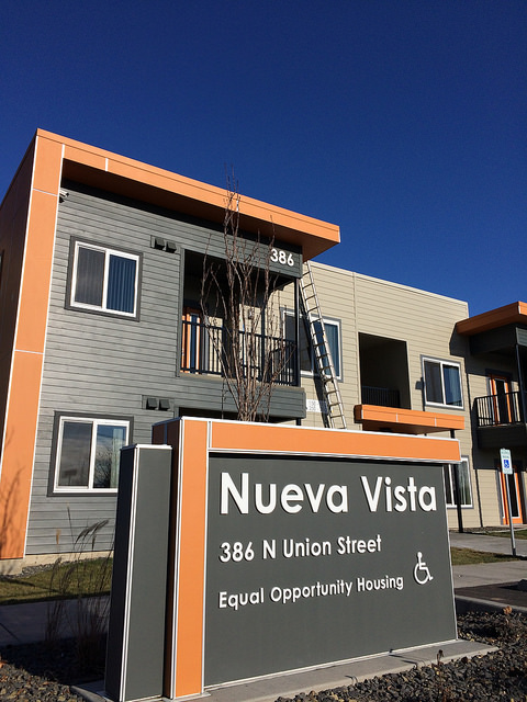 The monument sign and building address complete for Nueva Vista.