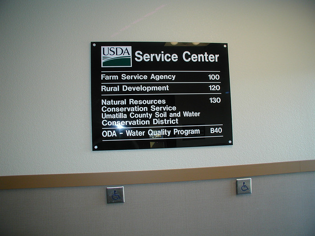 USDA Building directional sign made of acrylic
