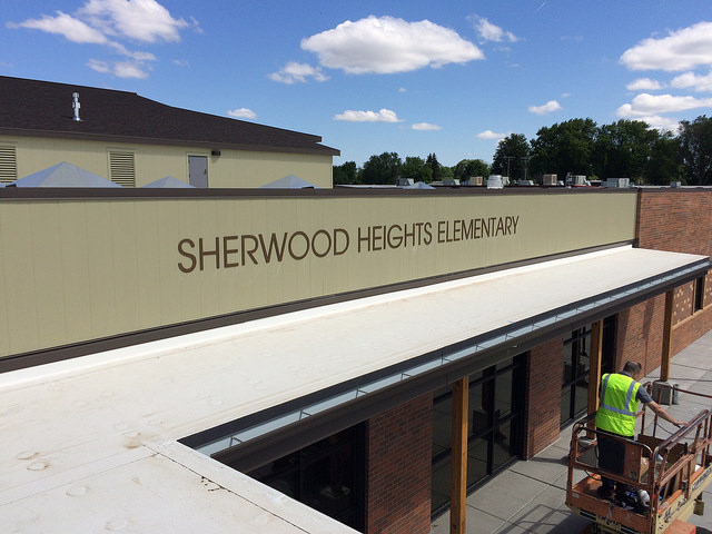 Dimensional characters on the front of Sherwood Heights  Elementary School.