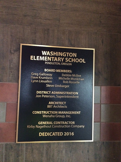 Bronze plaque for Washington Elementary School Project
